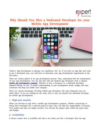 Why Should You Hire a Dedicated Developer for your Mobile App Development