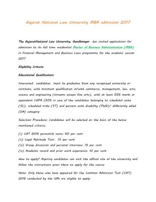 Gujarat National Law University MBA admission 2017