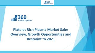 Platelet Rich Plasma Market Sales Overview, Growth Opportunities and Restraint to 2021