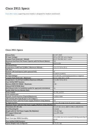 Cisco 2911 Specs
