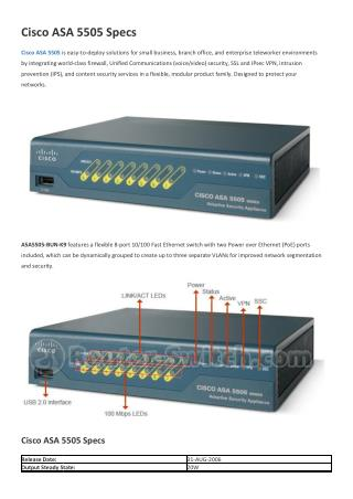 Cisco ASA 5505 Specs