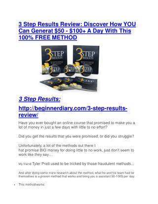 3 Step Results Review and 3 Step Results (EXCLUSIVE) bonuses pack