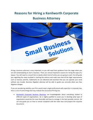 Kenilworth Corporate Business Attorneys