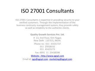 ISO 27001 Consultants