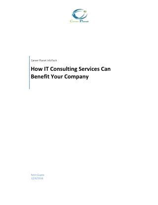 How IT Consulting Services Can Benefit Your Company
