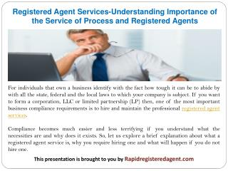Registered Agent Services-Understanding Importance of the Service of Process and Registered Agents