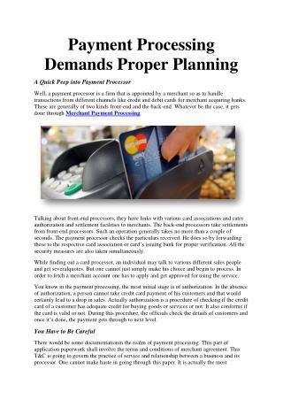 Payment Processing Demands Proper Planning