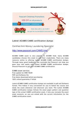 ACAMS CAMS certification dumps