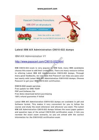 IBM AIX Administration C9010-022 dumps