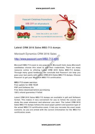 CRM 2016 Sales MB2-713 dumps
