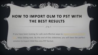 Import OLM to PST Format