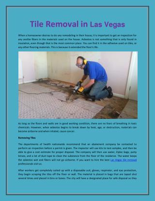 Las Vegas Tile Removal