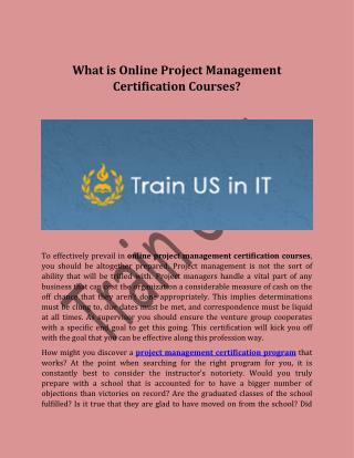What is Online Project Management Certification Courses?