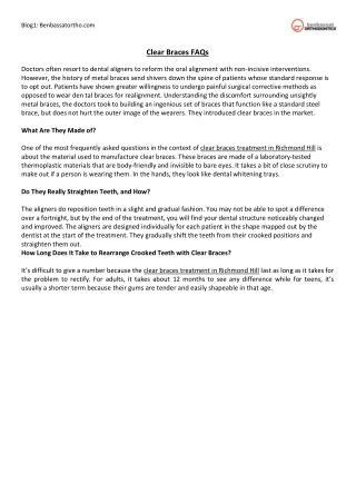 Clear Braces FAQs