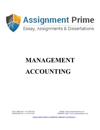 Management Accounting Sample - Assignment Prime Australia