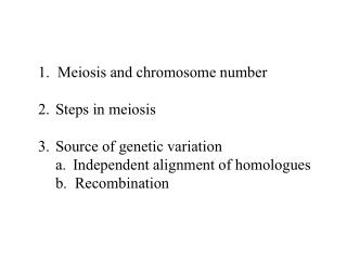 1.  Meiosis and chromosome number   Steps in meiosis  Source of genetic variation Independent alignment of homologues b.