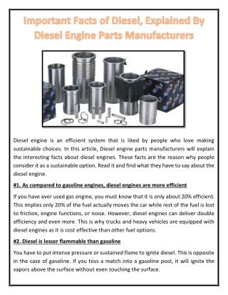 Important Facts of Diesel, Explained By Diesel Engine Parts Manufacturers