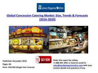 Global Concession Catering Market: Size, 2016 Trends & 2020 Forecasts