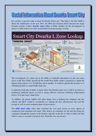 Useful Information About Dwarka Smart City