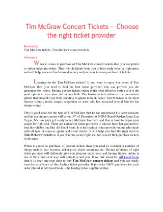Tim McGraw Concert Tickets – Choose the right ticket provider