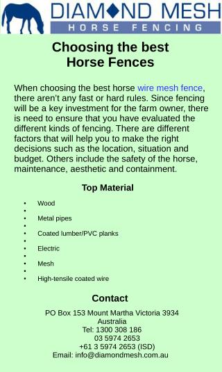 Choosing the Best Horse Fences