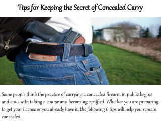 Concealed Online - 6 Tips for Keeping the Secret of Concealed Carry