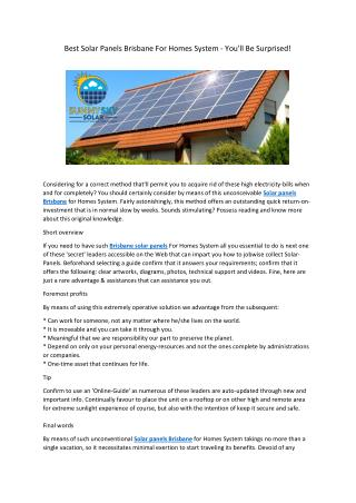Best Solar Panels Brisbane For Homes System - You'll Be Surprised!