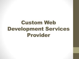 Custom Web Development Services Provider - Outsource Web Development Company