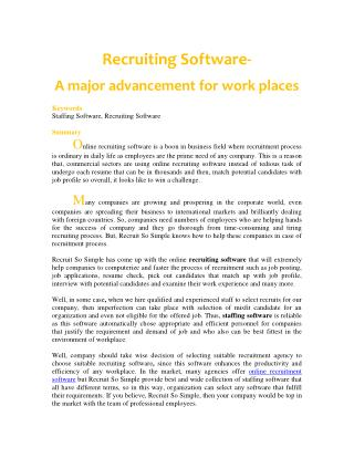 Recruiting Software-  A major advancement for work places