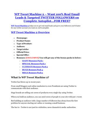 WP Tweet Machine 2 Review-(Free) bonus and discount