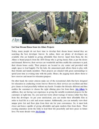 Get Your Dream House from Ats Allure Projects