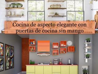 Cocina de aspecto elegante con puertas de cocina sin mango