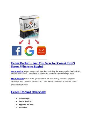 Ecom Rocket review demo and $14800 bonuses