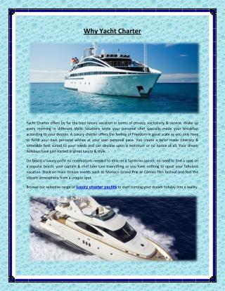 Why Yacht Charter