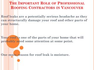 Talented Professional Roofing Contractors in Vancouver