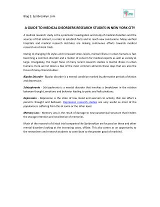 A Guide To Medical Disorders Research Studies In New York City