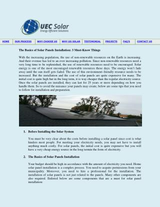 The Basics of Solar Panels Installation: 3 Must-Know Things
