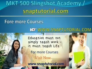 MKT 500 Slingshot Academy / snaptutorial.com