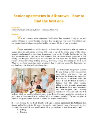 Senior apartments in Allentown – how to find the best one