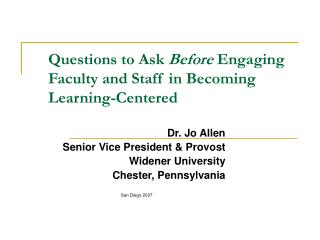 Questions to Ask Before Engaging Faculty and Staff in Becoming Learning-Centered
