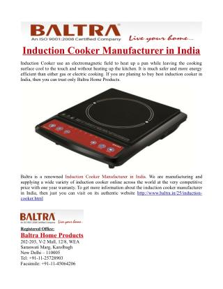 Induction Cooker Manufacturer in India
