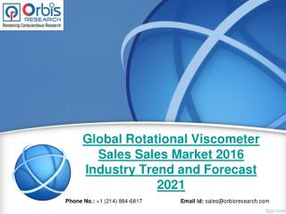 Global Rotational Viscometer Sales Industry 2016 - Trends and Opportunities