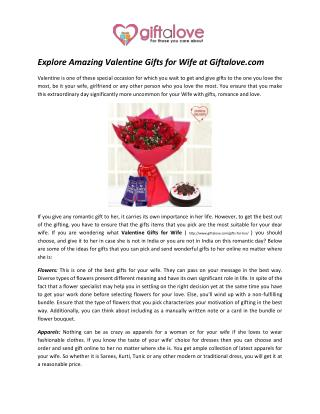 Explore Amazing Valentine Gifts for Wife at Giftalove.com