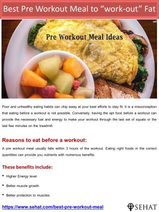 "Best Pre Workout Meal to ""work-out"" Fat  