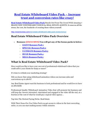 Real Estate Whiteboard Video Pack review & (GIANT) $24,700 bonus
