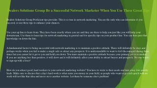 Dealers Solutions Group How to Succeed at Multi-Level Marketing - Straight from The Experts