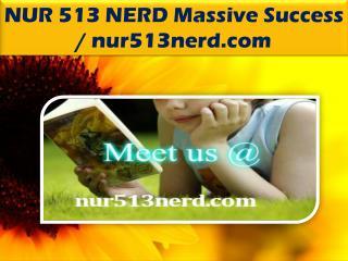 NUR 513 NERD Massive Success / nur513nerd.com