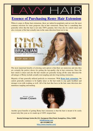 Essence of Purchasing Remy Hair Extension