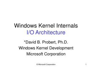 Windows Kernel Internals I