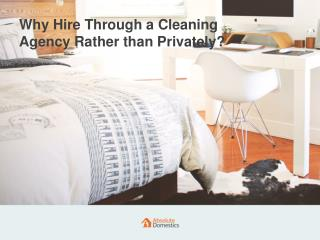 Why Hire a Cleaner Through a Cleaning Agency